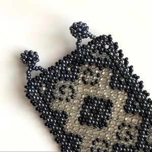 Jewelry - Beaded pattern cuff bracelet - black & white